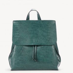Embossed Croc Leather Backpack